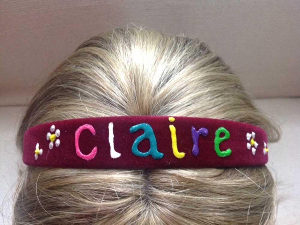 Personalised Hairband Burgundy